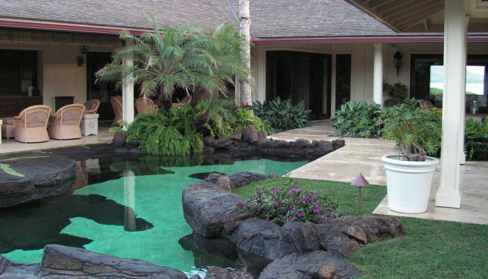 Naturalistic outcroppings and pools harmonize with the walkways.