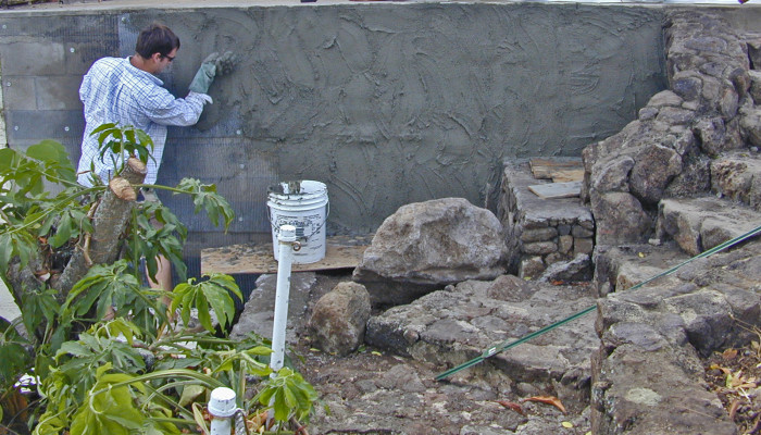 realistic artificial stone walls - scratch coat