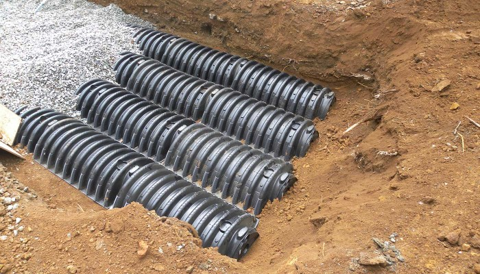 water drainage pipes/tiles