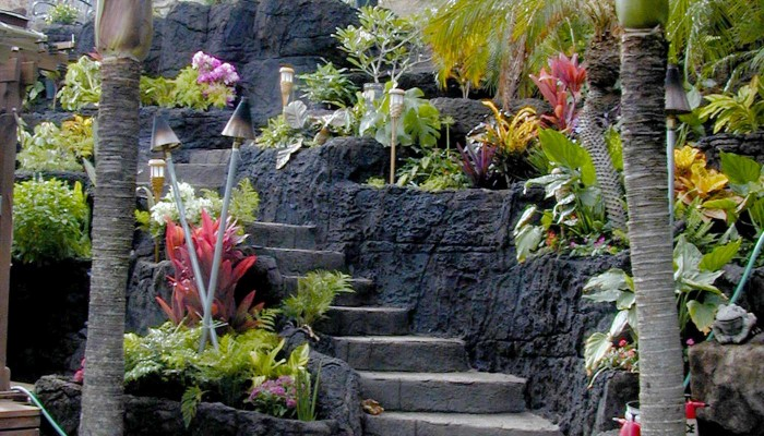 faux stone stairway