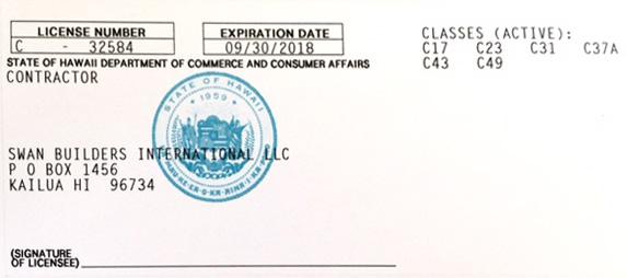 license: Tom Stoddard - licensed contractor (windward Oahu)